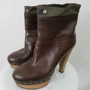 Marni Womens High Heel Shoes Leather Brown 8.5